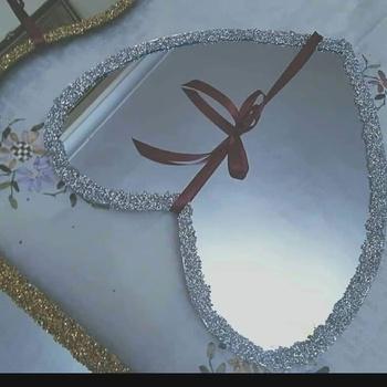 plateaux miroir argenté cœur ❤'s image