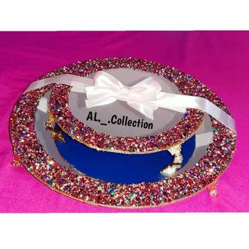 Série de 2 plateaux miroir avec bordure colorée forme ronde's image