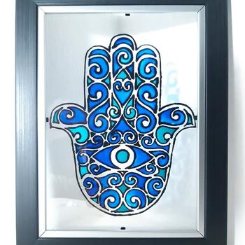 """Tableau""""khamsa""""peinture sur verre's image"""