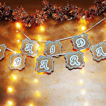 "✨Banniére ""Aid mubarak""  تعليقة العيد باللون  الذهبي بالأسود و الأبيض✨'s image"