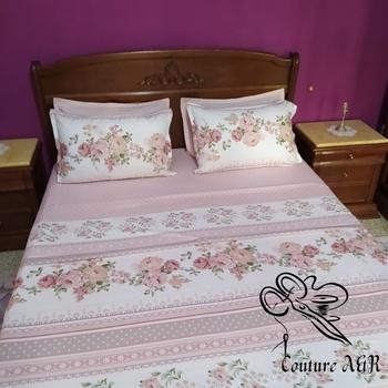Parure de drap de 6  pièces : drap plat, drap housse,4 taies d'oreillers fait main par Couture des  draps A & R couleur rose's image