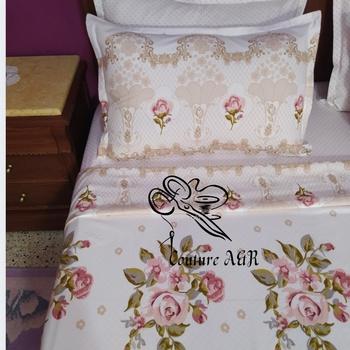 Parure de drap 6 pièces : drap plat, drap housse, 4 taies d'oreillers Couture des draps A & R's image