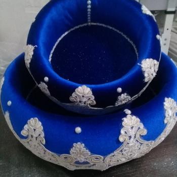 Paniers style turc couleur bleue fait main par rajaa lila décoration  35cm 23cm's image