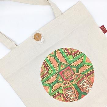 Tote bag moderne avec un motif multicolore, sac artisanal fait main par Bodo Création صناعة حرفية يدوية's image