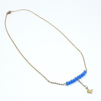 Collier avec des perles couleur bleu et une chaine dorée fait main par Créanna Bijoux  قلادة باللون الازرق صناعة حرفية يدوية's image