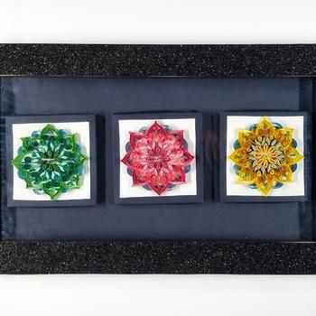 Tableau quilling art  multi-motifs fait main par Euphoria 3D لوحة مصنوعة يفن لف الورقبعدة أشكال صناعة حرفية يدوية's image