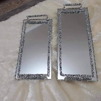 Deux Plateaux miroirs rectangle argenté's image