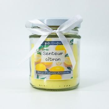 Bougie parfumée en bocal à couvercle senteur citron, taille moyenne fait main par Soft Crafts  شمعة معطرة برائحة الليمون صناعة حرفية يدوية's image