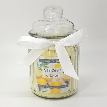 Bougie parfumée fleurie en bonbonnière senteur citron, bougie artisanale fait main par Soft Crafts شمعة معطرة برائحة الليمون صناعة حرفية يدوية's image